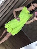 Летнее женское платье на каждый день (фабричный Китай, длина мини, без рукавов, волан, с поясом) РАЗНЫЕ ЦВЕТА!