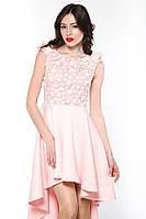 """Сукня коктейльна квіти мереживо шлейф рожева """"Tiffany""""  Платье коктейльное со шлейфом цветы кружево розовое"""