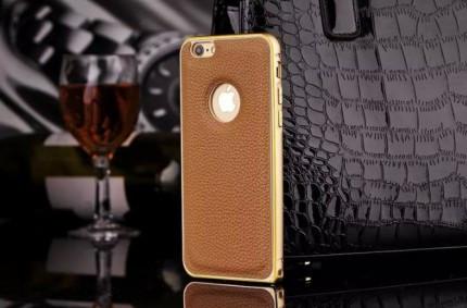 Металлический бампер для Apple iPhone 6/6s с кожаной вставкой