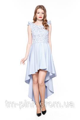 "Сукня коктейльна квіти мереживо шлейф блакить ""Tiffany""  Платье коктейльное со шлейфом цветы кружево"