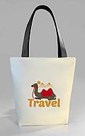 """Женская сумка """"Travel"""" Б397 - белая с черными ручками"""