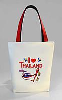 """Женская сумка """"I love Thailand"""" Б398 - белая с красными ручками"""