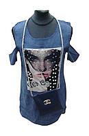 """Туника для девочки с сумочкой (128-134 см) (джинс) принты Розница """"Odessa Mama"""" M-629"""