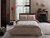 Двуспальное евро постельное белье TAC Moncler Red Ранфорс