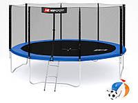Батут Hop-Sport 14ft (427cm) синий с внешней сеткой