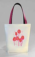"""Женская сумка """"Тюльпаны"""" Б401 - белая с розовыми ручками"""
