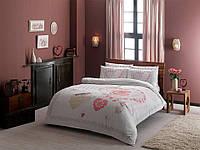 Двуспальное евро постельное белье TAC Alice Pink Ранфорс