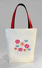 """Женская сумка """"Цветы"""" Б402 - белая с красными ручками"""