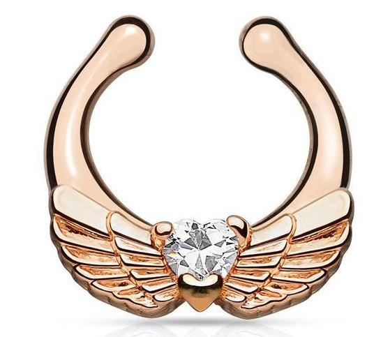 Серьга-обманка в нос Крылья розовое золото