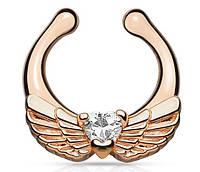 Серьга-обманка в нос Крылья розовое золото, фото 1