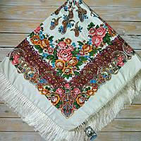 Нежный платок для девушек бежевого цвета (135х135см, бежевый, 80%-шерсть)