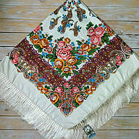 Нежный платок для девушек бежевого цвета (135х135см, бежевый, 80%-шерсть), фото 1