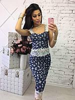 Женский стильный джинсовый костюм: топ и юбка-карандаш (3 цвета)
