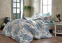Двуспальное евро постельное белье TAC Bella Blue Ранфорс