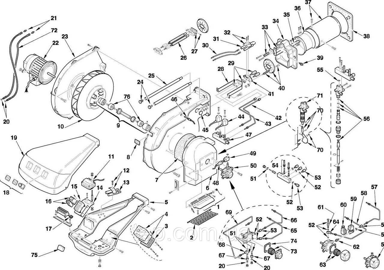 Запасні частини до пальника Riello RL 70 100 130