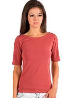 Терракотовая футболка женская летняя с коротким рукавом без рисунка хлопок хб стрейч трикотажная (Украина)