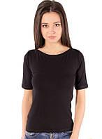 Черная футболка женская летняя с коротким рукавом без рисунка хлопок хб стрейч трикотажная (Украина)