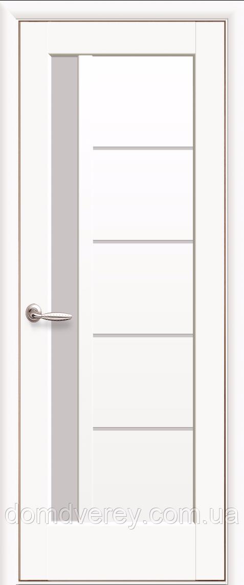 Двери межкомнатные Новый Стиль, Ностра, модель Грета белый матовый, со стеклом сатин