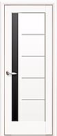 Двері міжкімнатні Новий Стиль, Ностра, модель Грета білий матовий, з чорним склом