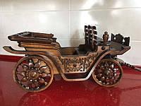 Дерев'яна карета різьбленна сувенірна ручної роботи 84*30*32 см