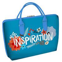 """Сумка саквояж женская голубая с принтом """"Вдохновение"""" ,сумки женские дропшиппинг"""