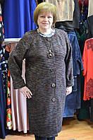 Пальто трикотажное цвета коричневый меланж