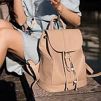 Рюкзак-сумка кожаный женский бежевый (ручная работа), фото 1