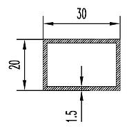 Алюмінієва Труба прямокутна ПАС-0518 30х20х1.5 / Без покриття