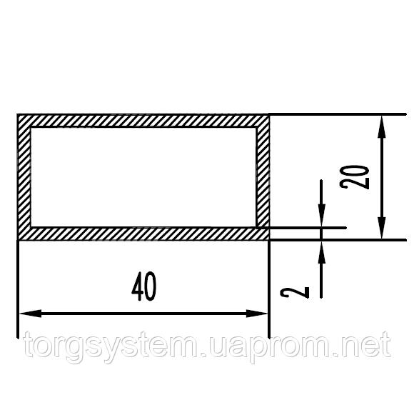 Алюмінієва Труба прямокутна ПАС-1541 40х20х2 / Без покриття.
