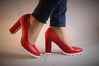 Туфли на устойчивом каблуке. Натуральная кожа 0636