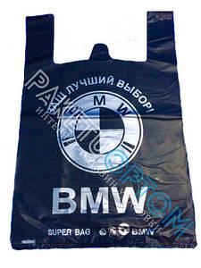 Пакет-майка с рисунком BMW черные 40x60см