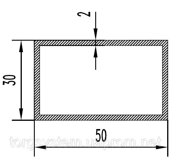 Алюмінієва Труба прямокутна ПАС-0967 50х30х2 /Без покриття
