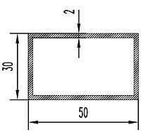 Алюмінієва Труба прямокутна ПАС-0967 50х30х2 / AS Срібло