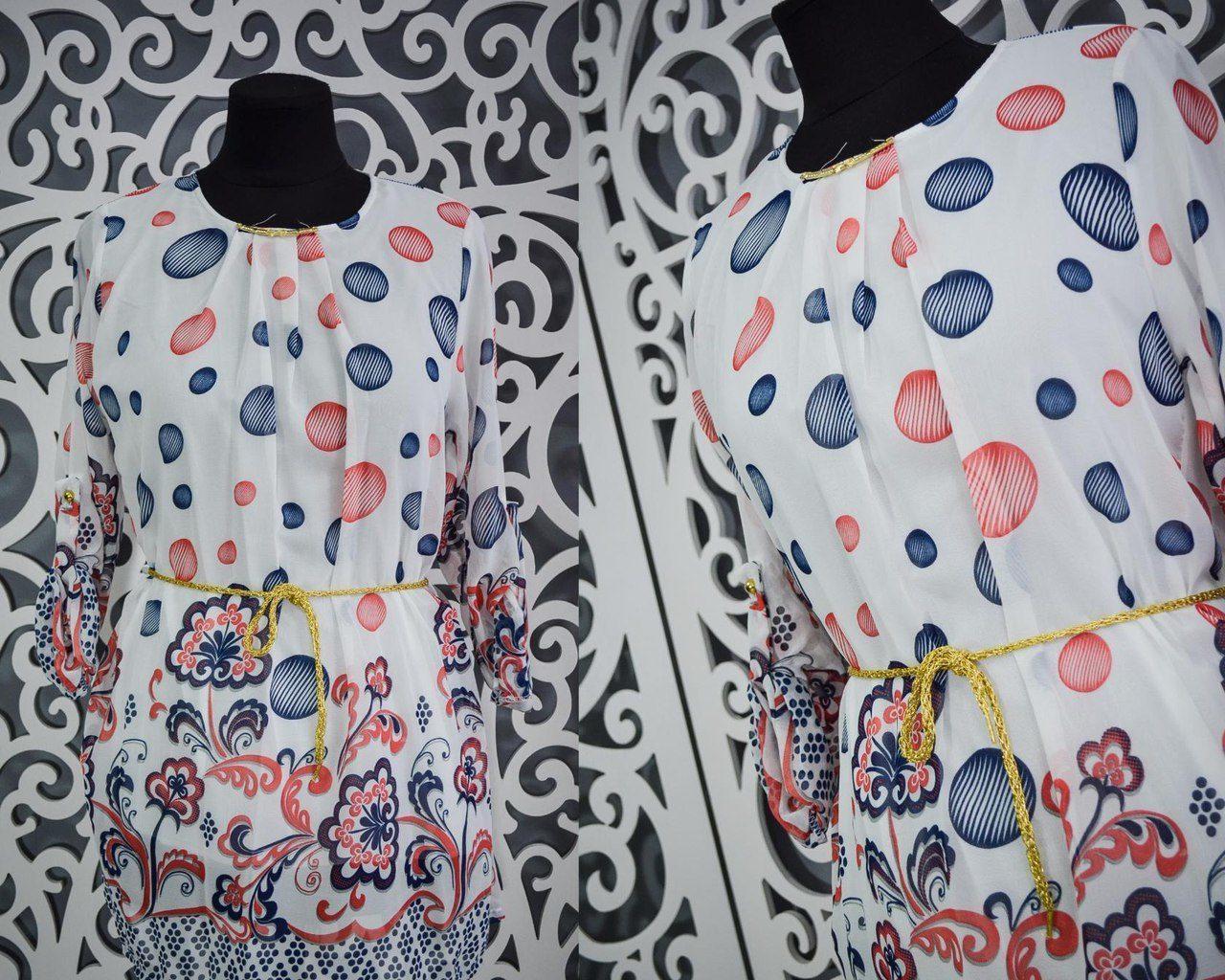 """Нежное женское платье с поясом """"шифон на подкладке"""" 42, 46 размеры норма"""