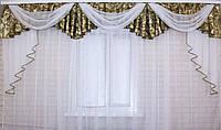 Ламбрекен из плотной ткани №68 Цвет зеленый с золотым Код: 068л025