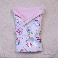 """Летний яркий конверт-одеяло """"Valleri"""" (совы розовый), фото 1"""
