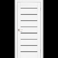 Дверь межкомнатная PIANO DELUXE ясень белый черное стекло