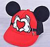"Кепка-рэперка с ушками  ""Miki-heart"". Размер  52 см. Красная. Оптом."