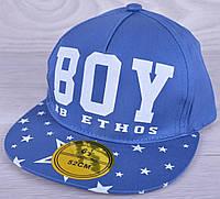 """Кепка-рэперка  """"BOY"""" для мальчиков. Размер  52-54 см. Синяя. Оптом."""