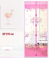 Антимоскитная шторка на дверь 210*90  розовая