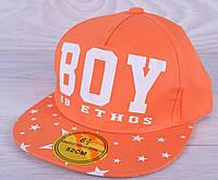 """Кепка-рэперка  """"BOY"""" для мальчиков. Размер  52-54 см. Оранжевая. Оптом."""