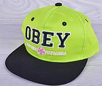 """Кепка-рэперка  """"OBEY"""" для мальчиков. Размер  52-54 см. Салатовая. Оптом."""