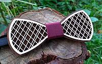 Деревянная бабочка галстук Орнамент Марсал ручной работы, серия Fantasy