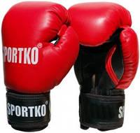 Боксерские перчатки Sportko кожаные 10 унц. красные арт.ПК10к