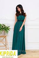 Длинное расклешенное платье в пол с кружевом и лентой на талии
