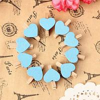 Мини прищепки «Сердце» голубые