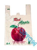 Пакеты майка с рисунком яблоко 30*50 прочные