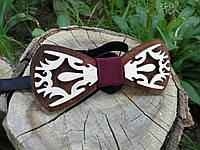 Деревянная бабочка галстук Орнамент - 2 ручной работы, серия Fantasy