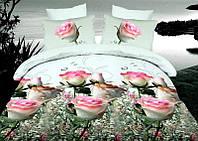 Комплект постельного белья 3D семейный, полиэстер. Постільна білизна. (арт.7189)
