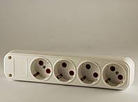 Колодка 4 розетки с заземлением FETIH 405-00